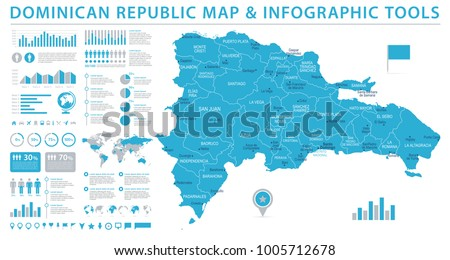Dominican Republic Map - Detailed Info Graphic Vector Illustration