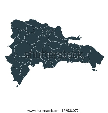 Dominican Republic map on White background vector, Dominican Republic Map Outline Shape Gray on White Vector Illustration, High detailed Gray illustration map Dominican Republic.