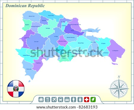Dominican Republic Map with Flag Buttons and Assistance & Activates Icons Original Illustration