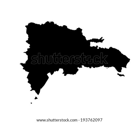 Dominican Republic vector map silhouette isolated on white background. High detailed illustration.