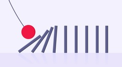 Domino effect business concept. Big red ball starts row of falling blocks of dominoes flat style vector illustration. Business bankruptcy or crisis, risk chain reaction and finding solution metaphor.
