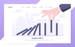 Domino effect business concept. Hand stops chain reaction of falling board game blocks of dominoes flat style vector illustration. Business bankruptcy or crisis, risk and finding solution metaphor.