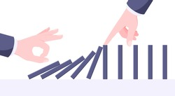 Domino effect business concept. One hand starts chain reaction of falling board game blocks of dominoes and another hand stops it flat style vector illustration.