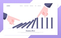 Domino effect business concept. One hand starts chain reaction of falling board game blocks of dominoes and another hand stops it landing page flat style design vector illustration.