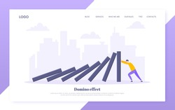Domino effect business resilience metaphor vector illustration concept. Adult young businessman pushing falling domino line business concept of problem solving and stopping domino chain reaction.
