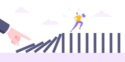 Domino effect or business cowardice metaphor vector illustration concept. Adult young businessman run away from hand falling domino line business concept problem solving and danger chain reaction.