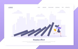 Domino effect or business resilience metaphor vector illustration concept. Adult young businesswoman run away from falling domino line business concept problem solving and danger chain reaction