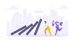 Domino effect or business resilience metaphor vector illustration concept. Adult young business people pushing falling domino line business concept of problem solving stopping domino chain reaction.