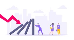 Domino effect or business resilience metaphor vector illustration concept. Adult young businessman pushing falling domino line business concept of problem solving and stopping chain reaction.
