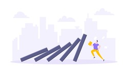Domino effect or business resilience metaphor vector illustration concept. Adult young businessman run away from falling domino line business concept problem solving and danger domino chain reaction.