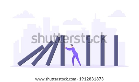 Domino effect or business resilience metaphor vector illustration concept. Adult young businessman pushing falling domino line business concept of problem solving and stopping chain reaction. Foto stock ©