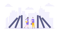 Domino effect or business resilience metaphor vector illustration concept. Business people shaking hands near falling domino line business concept of problem solving and stopping chain reaction.