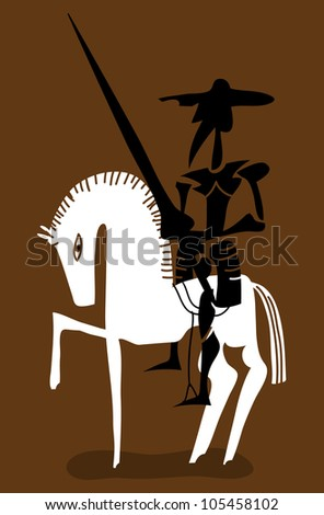 Don Quixote knight and his horse
