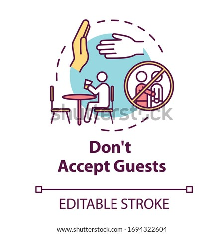 Don't accept guests concept icon. Self-isolation precaution for health care. Avoid visitors. Quarantine idea thin line illustration. Vector isolated outline RGB color drawing. Editable stroke Stock photo ©