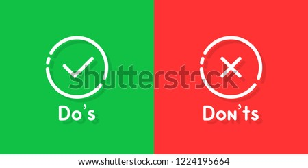 don't and don'ts information signs. flat cartoon linear customer complaint logotype graphic art design isolated on red and green background. concept of answer the question like bad vs good buttons Foto stock ©
