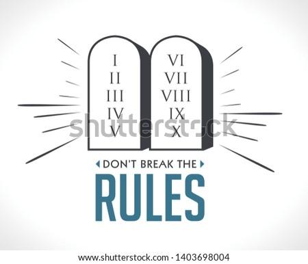 Don't break the rules icon - Gods law concept - The 10 Commandments Stock photo ©