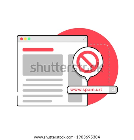 don't click spam URL, suspicious and dangerous hyperlink concept illustration flat design vector eps10, modern graphic element for infographic, landing page, empty state app or web ui Foto d'archivio ©