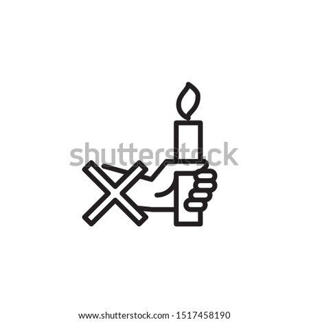 Don't hold a candle in hand line icon. Labeled for fire safety. Labeling for wax candles. Sings for desing, for a website, for label printing.