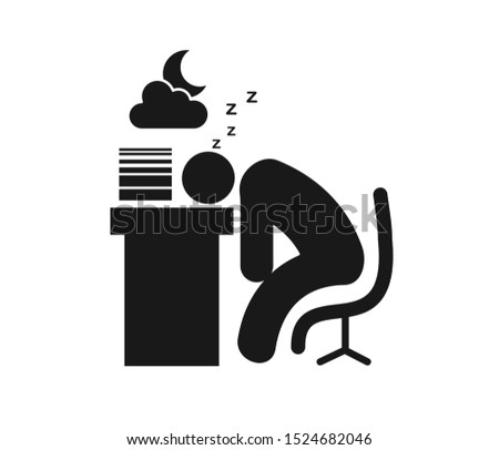 Don't like study, sleeping on the study table vector icon