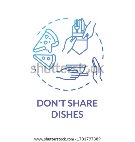 Don't share dishes blue concept icon. Use separate plates and tableware. Personal meal and kitchenware. Quarantine idea thin line illustration. Vector isolated outline RGB color drawing
