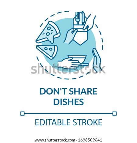 Don't share dishes turquoise concept icon. Use separate plates and tableware. Personal meal. Quarantine idea thin line illustration. Vector isolated outline RGB color drawing. Editable stroke