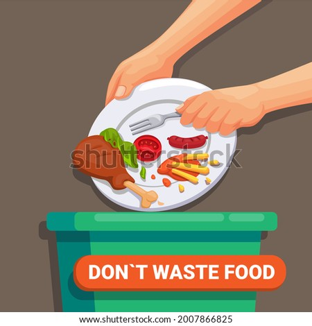 Don`t Waste Food, world food day and International Awareness Day on Food Loss and waste concept illustration vector