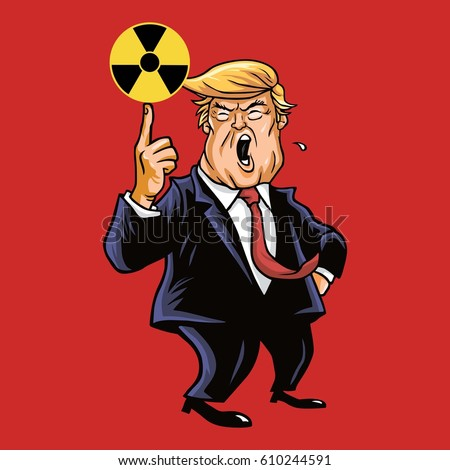 donald trump with nuclear sign