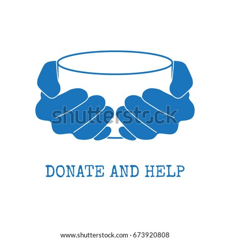 Shutterstock Donate and help logo. Hungry people holding empty bowl begging for food and help.