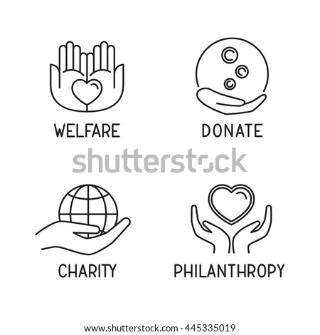 Donate icon set. Charity / philanthropy / welfare signs. Children fundraiser logo. Blood / food / money donation service. Vector illustration.