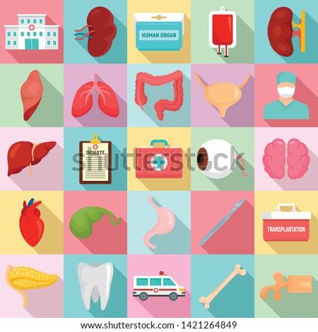 Donate organs icons set. Flat set of donate organs vector icons for web design