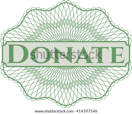 Donate rosette or money style emblem