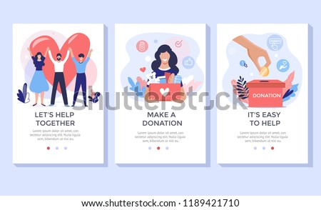 Donation and volunteers work concept illustration set, perfect for banner, mobile app, landing page