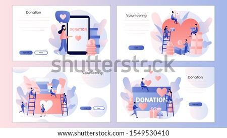 Donation and volunteers work concept. Screen template for mobile smart phone, landing page, template, ui, web, mobile app, poster, banner, flyer. Modern flat cartoon style. Vector illustration Foto stock ©