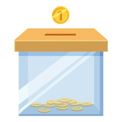 Donation box icon with golden coin icon. Cartoon illustration of donation box icon with golden coin box for donations vector icon for web