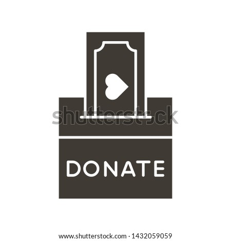 Donation box with a generous offer. Cash bill with an heart, kind money. Vector flat glyph icon illustration. Charity, donation, volunteering, philanthropy, help and kindness concepts.
