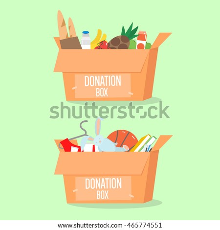 Donation boxes set. Box with different type of donation isolated. Vector Illustration