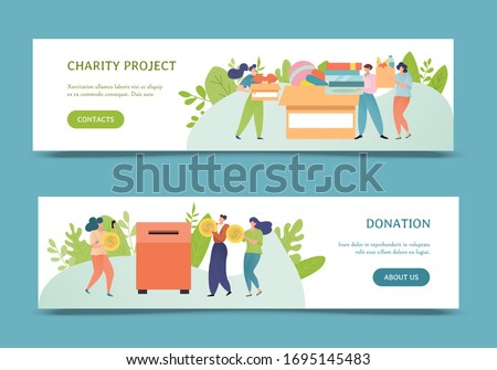 Donation, charity poster banner vector illustration design. Charitable contribution concept. People donate toys, clothes, book, money. Man, woman cartoon character volunteer give coin in donation box. Zdjęcia stock ©