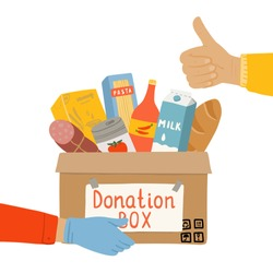 Donation food box in hands of volunteer. Food Bank with canned non perishable foods. Concept of charity activity for coronavirus 