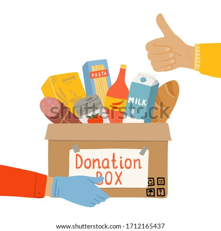 Donation food box in hands of volunteer. Food Bank with canned non perishable foods. Concept of charity activity for coronavirus  insulation. Vector illustration isolated on a white background.