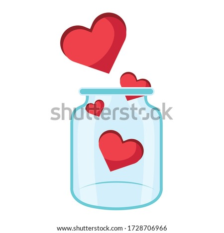 donation jar glass with hearts