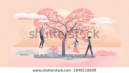 Donation tree as volunteer support or giving care, love and solidarity tiny person concept. Branches with hearts as campaign money gathering and growth vector illustration. Symbolic charity work scene