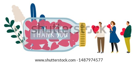 Donations and charity. Queue to make donations. Vector volunteering concept with flat tiny people with hearts