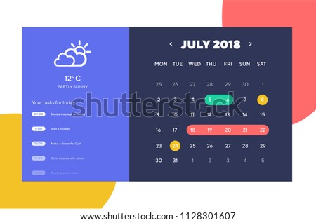 Done Day Planner and Calendar App Ui Ux Design. UI, UX and GUI template layout for Mobile Apps. Calendar widget
