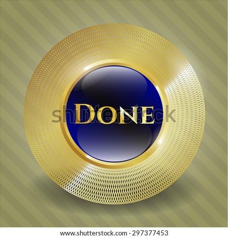 Done gold shiny badge