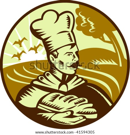 Done in retro woodcut style, imagery shows a baker holding a loaf of bread with farm in the background.