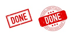 Done red rubber stamp text on white