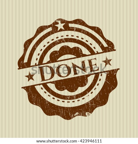 Done rubber stamp with grunge texture