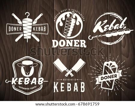 doner kebab logos. vector kebab ...
