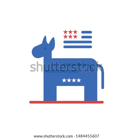 Donkey, American, Political, Symbol  Flat Color Icon. Vector icon banner Template. Vector Icon Template background