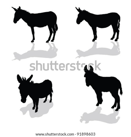 donkey four animal black silhouette on white background